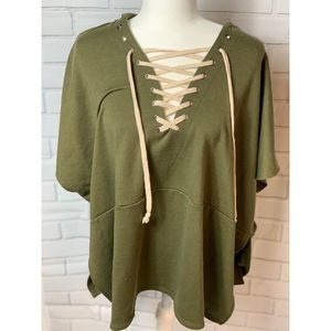 Free People Army Green Criss Cross Tie Cape